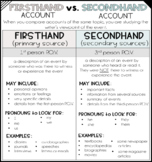 Firsthand Account and Secondhand Account Anchor Chart (2 Versions)