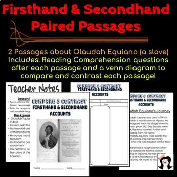 Firsthand Secondhand Account Paired Passages first hand second hand close read