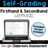 Self-Grading Firsthand and Secondhand Accounts Quiz - Digital & Printable