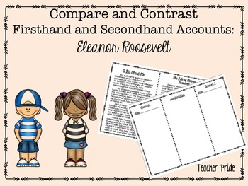 Firsthand and Secondhand Account Compare and Contrast: Eleanor Roosevelt