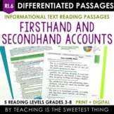 Firsthand and Secondhand Accounts Passages - RI.6 - Print & Interactive Digital