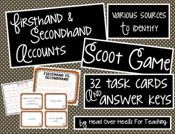 Firsthand and Secondhand Accounts Scoot Game {Task Cards}