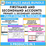 Firsthand and Secondhand Accounts  Primary Secondary Sources Activities