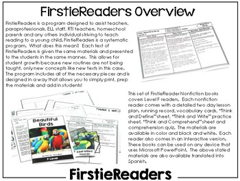 FirstieReaders Nonfiction Level: F *ENGLISH AND SPANISH*