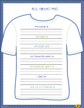 Grade One ALL ABOUT ME! T-Shirts & Writing Projects