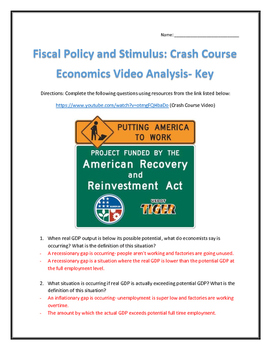 Fiscal Policy and Stimulus: Crash Course Economics- Video Analysis with Key