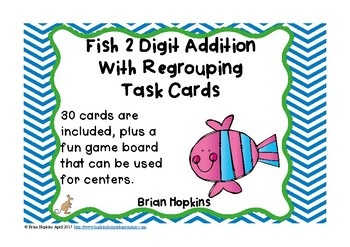Fish 2 Digit Addition Regrouping Task Cards