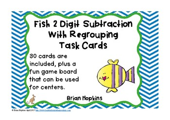 Fish 2 Digit Subtraction Regrouping Task Cards