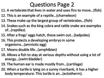 Fish, Amphibians and Reptiles Terminology Review Game