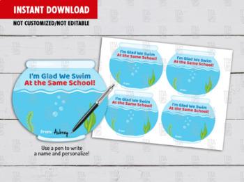 Fish Bowl Back to School, DIY Printable, Classroom Exchange, Instant Download