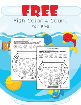 Fish Bowl: Free Color and Count No Prep Worksheet
