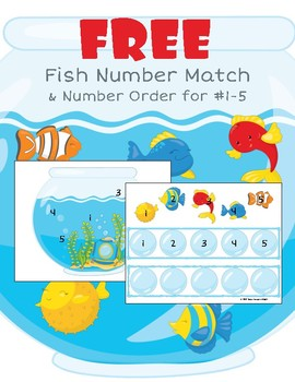 Fish Bowl: Free Number Match & Number Ordering Activity for #1-5