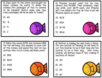 Color by Number Multi-Step Word Problems STAAR