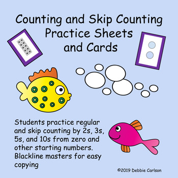 Fish Bubble Counting Practice Sheets 2s, 5s, 10s