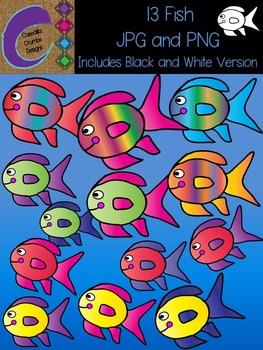 Fish Clip Art 13 Colors Images
