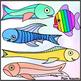 Rainbow Fish Clip Art ~ For Ocean & Water Units ~ Black Li