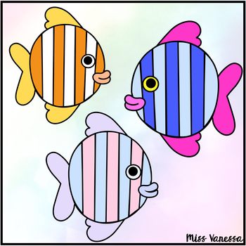 Rainbow Fish Clip Art ~ For Ocean & Water Units ~ Black Line Included