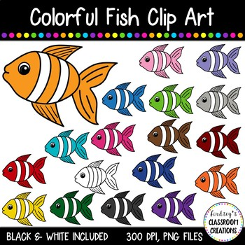 Fish Clip Art - 18 Colorful Fish Included