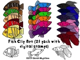 Fish Clip Art (20 Pack with Digital Stamps)