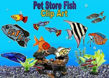 Fish Clip Art: Pet Store Aquarium Fish Color and Black and White