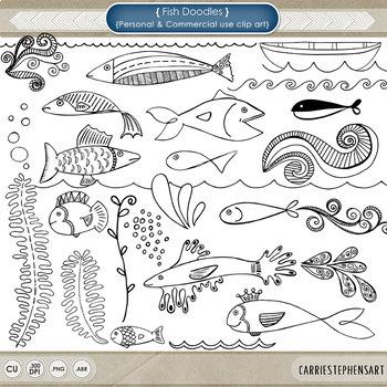 Fish ClipArt, Fish Doodles, Digital Stamps + Photoshop Brush, Nautical