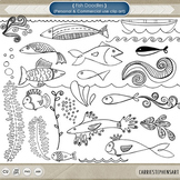 Fish ClipArt, Fish Doodles, Digital Stamps + Photoshop Brush, Nautical