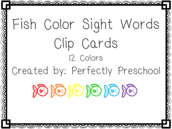 Fish Color Sight Word Clip Cards