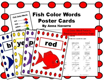 Fish Color Words Poster Cards