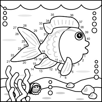 Fish Connect the Dots Puzzle and Coloring Page, Commercial Use Allowed