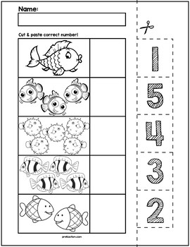 Fish Cut & Match Worksheets | Numbers 1-5 by preKautism | TpT