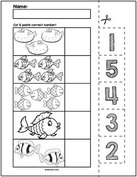 Fish Cut & Match Worksheets | Numbers 1-5