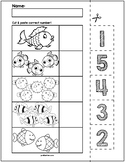 Fish Cut & Match Worksheets   Numbers 1-5