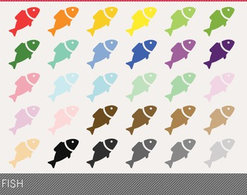 Fish Digital Clipart, Fish Graphics, Fish PNG, Rainbow Fish Digital Files