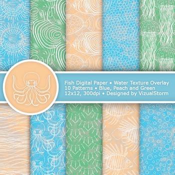 Fish Digital Paper, Sea Life & Ocean Textures, Beach Colors - Blue, Peach, Green
