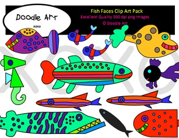 Fish Faces Clipart Pack