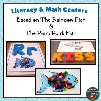 Rainbow Fish & The Pout Pout Fish:  Literacy & Math Center Bundle