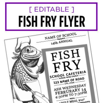 Fish Fry Event Flyer Editable Word Doc Advertisement Tpt