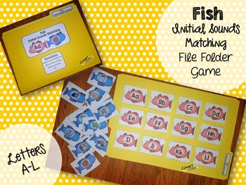 Fish Letter to Initial Sound File Folder Game A-L