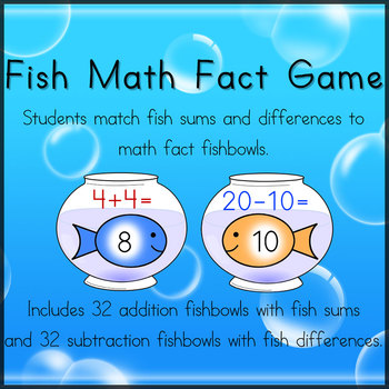 Fish Math Fact Matching Game -- Math Center Activity by Leticia Gallegos
