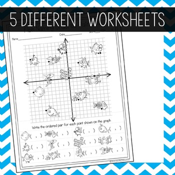 Coordinate Graphing Worksheets - Fish Themed