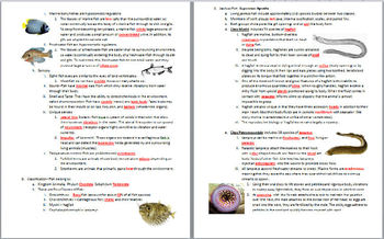 Fish Notes Handout and Teacher Key (Biology & Zoology )