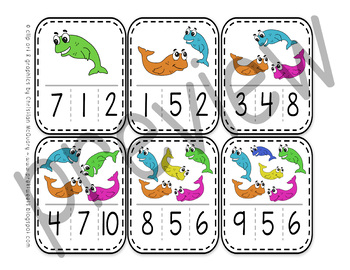 Fish Number Clip Cards