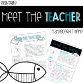 Fish / Ocean Meet the Teacher - Back to School - About the Teacher Template