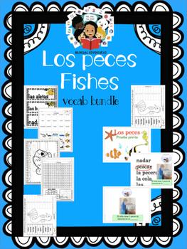 Fish Pescados - Vocab Bundle and Literacy Centers - Spanish
