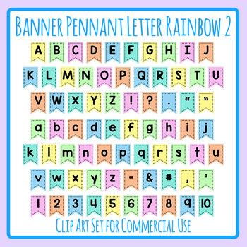 Rainbow Pennants / Flags / Banners - Alternate Colors Alphabet Letter Clip Art