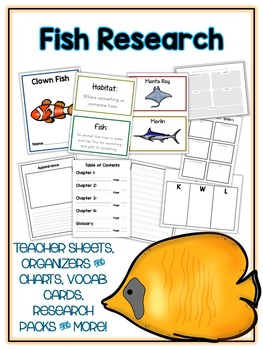 Fish Research Project - 21 Types, Vocab Cards, Packet, Book & More