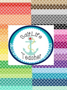 Fish Scale Backgrounds 30 Different Colors