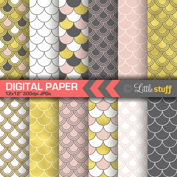 Fish Scale Digital Paper Pack in Pink and Gold Foil