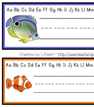 Fish (Sea Life) Desk / Name / Cubbie Tags