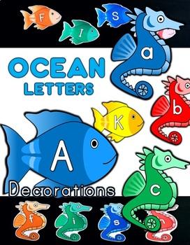 Fish / Seahorse Ocean Letter Classroom Decorations